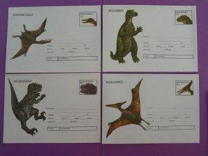 prehistoric animals dinosaur set of 4 postal stationeries Romania 1994 (ref D20)