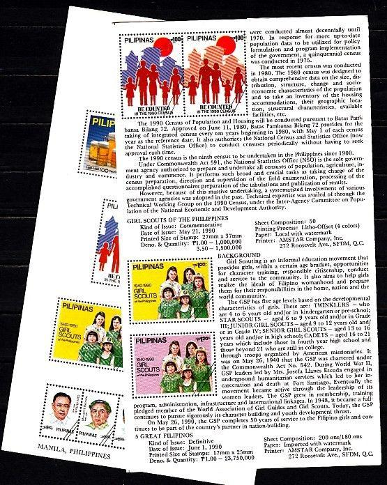 Philippines, Scott cat. 2026-2027. Girls Scout issue, Postal Bulletin.