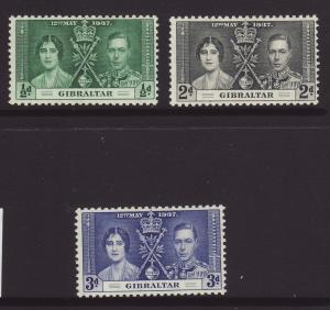 1937 Gibraltar Coronation Set Mounted Mint SG118/120