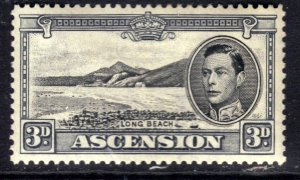 Ascension Island 1938 - 53 KGV1 3d Black & Grey Long Beach MM SG 42b ( R742 )