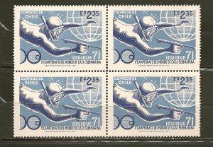 Chile 404 Diver Block of 4 MNH