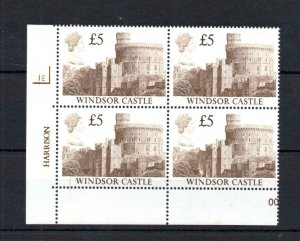 £5 CASTLES UNMOUNTED MINT PLATE 1E BLOCK Cat £80 (+ PRINTING VARIETY)