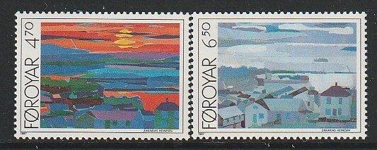 1987 Faroe Islands - Sc 166-7 - MNH VF - 2 single - Cottages by Heinesen
