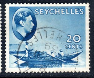 SEYCHELLES-- 1938- sg140  -  20 cents  -  blue - used - £6.00