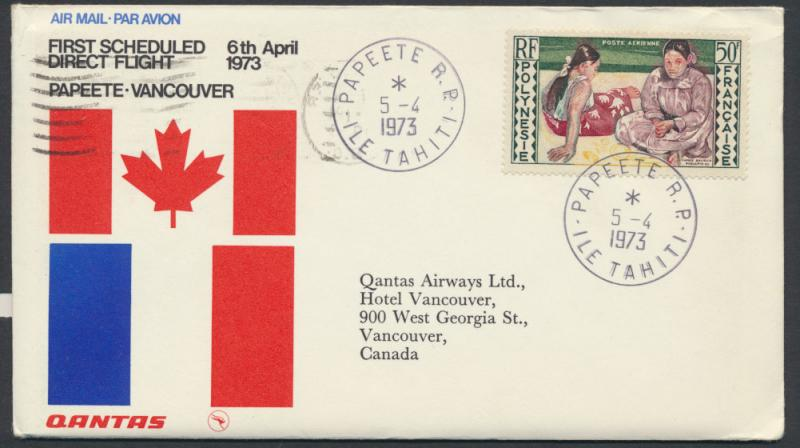 1973 Qantas First Flight Cover Papeete Vancouver AAMC 1766a SPECIAL - please ...
