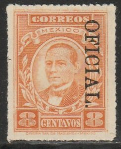 MEXICO O182a, 8¢ OFFICIAL opt. reading down. UNUSED, H OG. VF.