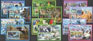 PE 2019 BURKINA FASO FAUNA WATER BIRDS PENGUINS OWLS PARROTS !!! 6KB+6BL MNH