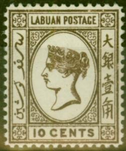 Labuan 1892 10c Brown SG43 Good Mtd Mint
