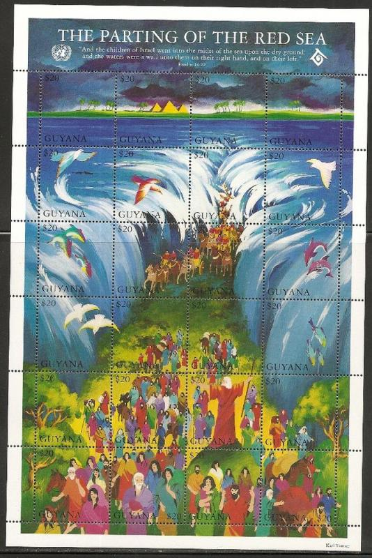 Guyana 2835 1994 Bible Stories Parting the Red Sea m/s NH