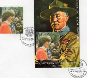 Turkmenistan 1997 YT#12 Lord Baden-Powell/Princess Diana Set+SS Perf.FDC