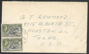GILBERT & ELLICE IS 1956 GVI 2½d(2) on cover TARAWA to USA.................11063