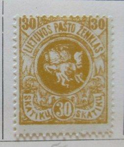 A11P4F4 Litauen Lituanie Lithuania 1919 Wmk Wavy Lines 30sk White Paper MH*