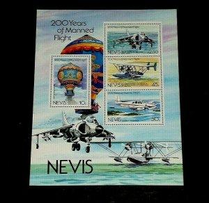 TOPICAL,1983, AVIATION, NEVIS, MANNED FLIGHT, SHEET/4, LOT #110, MNH, LQQK