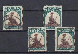 Southern Rhodesia 1943 2d x 4 Hat Roll Flaw SG61/61a/61b Fine Used J9632