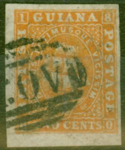 British Guiana 1863-76 2c Orange New Transfer Fine Used Imperf Proof Paper Maker