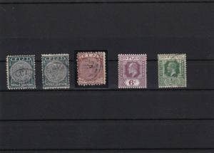 EARLY FIJI STAMPS ON STOCK CARD USED AND MOUNTED MINT
