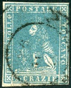 Italian States-Tuscany Scott 13 UF-VFH - New APS Cert #237165 - SCV $200.00
