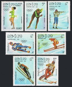 Laos 509-515,516,MNH.Michel 698-704,Bl.99. Olympics Sarajevo-1984.Biathlon,Luge,