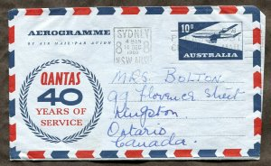 p163 - AUSTRALIA 1960 Aerogramme Cover to CANADA. 40 years of Quantas Airlines