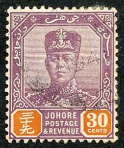 Johore SG117 1936 30c dull purple and orange Fine Used
