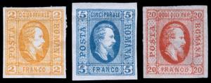 Romania Scott 22-23, 25 (1865) Mint H F-VF, CV $150.00 B
