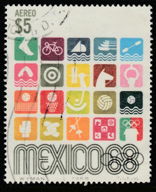 MEXICO C343, $5Pesos 1968 Olympics, Mexico City USED. F-VF. (1238)