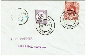 Swaziland 1953 Mbabane cancel on local cover, 2d postage due, SG D2, 1140 pounds
