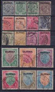 BURMA 1937 BURMA on KGV India set 3p - 25R RARE!