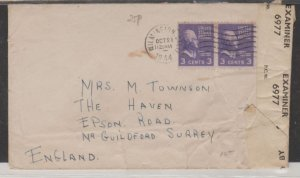 U.S. Scott #807 Pair Cover - Air Mail Opened by Examiner 6977 - CA to England