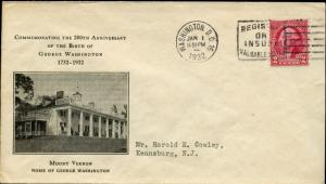 #707--4 HOME OF WASHINGTON-MT. VERNON FDC BY RICE CACHET BN936