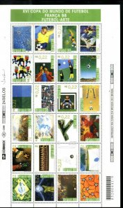 #9014 BRASIL,BRAZIL 1998 FOOTBALL SOCCER WORLD CUP FRANCE FULL SHEET YV 2424-47