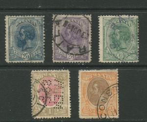 STAMP STATION PERTH Romania #126-128,130,131  King Carol I 1893 Used CV$15.00.