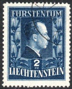 LIECHTENSTEIN-1951 Prince Francis 2F Sg 302a GOOD USED V40535