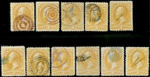#O3 (11) DIFF. FANCY CANCELS ON 3¢ AGRICULTURE DEPT COLLECTION CV $194 BP4417