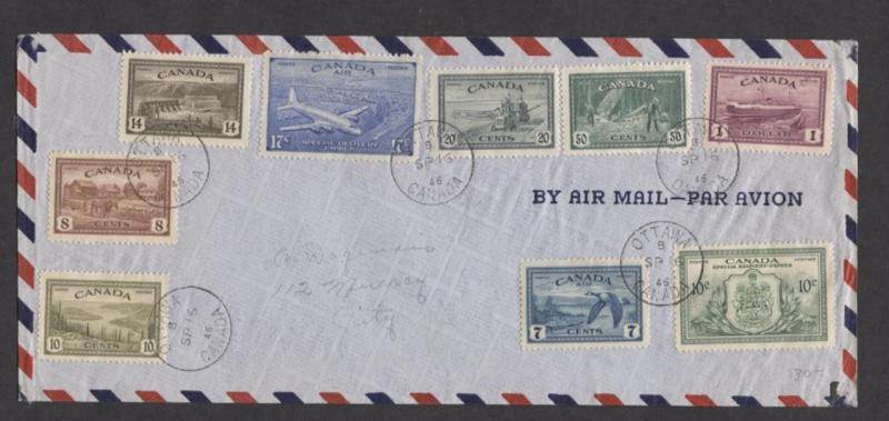 Canada #268-73, C9, CE3, E11 1946 Peace Issue Complete on First Day Cover VF-83