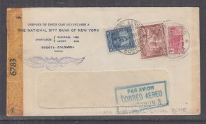 COLOMBIA, 1943 Airmail Censored cover, Bogota to USA, 1/2c., 5c. & 30c.