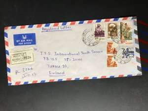 India Registered Cover to Finland City Cancel (1980s-1990s) Cover #1829