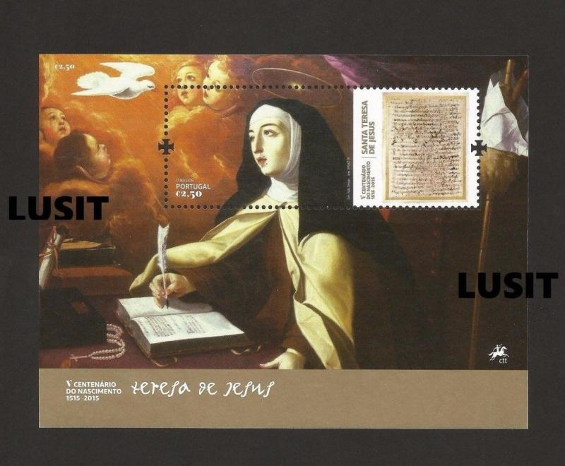S/sheet  2015 PORTUGAL SAINT TERESA OF JESUS art CATHOLIC RELIGION CHISTIAN Z1