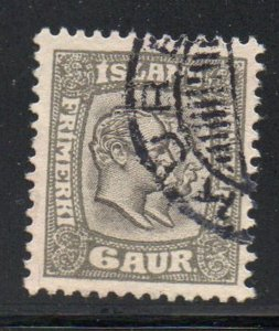 Iceland  Sc 75 1907 6 aur 2 Kings stamp used