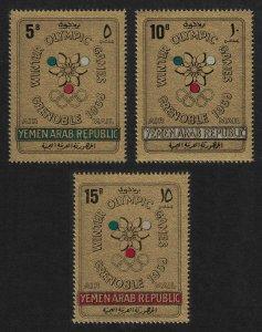 Yemen Winter Olympic Games Grenoble 3v on GOLD FOIL 1967 MNH MI#613-615