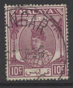 MALAYA PERLIS SG15 1951 10c PURPLE FINE USED