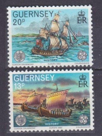 Guernsey MNH 246-7 Europa Ships 1982