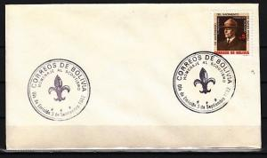Bolivia, Scott cat. 683. Scouting Anniversary issue. Plain First day cover. *