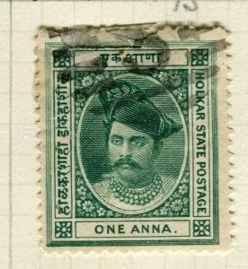 INDIA; INDORE 1889-92 early classic Holkar local issue Mint hinged 1a. value