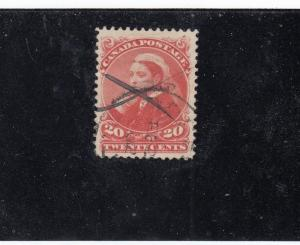 CANADA # 46 VF-20cts VERMILLION PEN CANCEL CAT VALUE $150