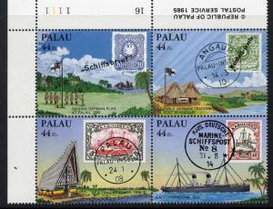 Palau C9a TL Plate Block MNH Stamp on Stamp, Ship, Architecture, Flag