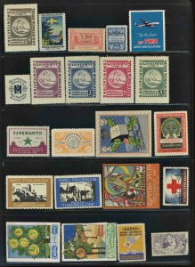 1890s - 1950s US & WORLD POSTER STAMP Cinderellas (LOT of 38 Stamps)