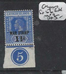 CAYMAN ISLANDS  (P0105B)   KGV WAR TAX SG 56 CONTROL SINGLE  MOG