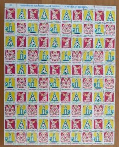 1971 USA CHRISTMAS SEALS -STAMPS FULL SHEET of 100 Stamps (Christmas Scenes)