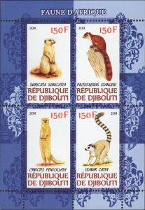 Djibouti Wild Animals Meerkat Fauna Souvenir Sheet Mint NH
